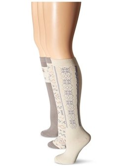 Bộ 3 Đôi Tất Nữ Muk Luks Women's Microfiber Patterned Knee High Socks (Trắng xám)