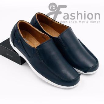 Giày Mọi Nam Đơn Giản Da Thật Có Mũi Được Cách Điệu Độc Đáo GM279 (Xanh navy)