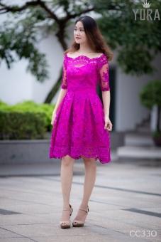 Đầm ren xòe cổ điển CC33O (Hồng)