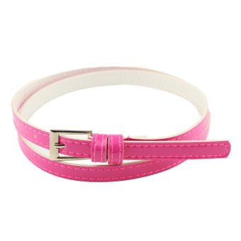 Hot Beautiful Woman Multicolor Small Candy Color Thin Leather Belt Ms Belt Rose