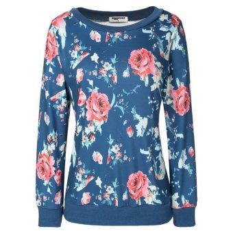 Cyber Zeagoo Floral Printed Pullover Hoodies (Blue) - Intl - Intl