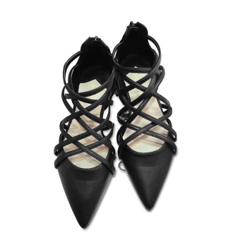 Women's Pointed Flat Sandals With Strapped Design Roman Style(Black) - intl