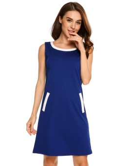 Cyber Women Casual Sleeveless Patchwork False Pockets Contrast Color O Neck Pullover A-Line Dress ( Navy Blue ) - intl