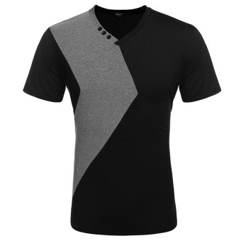 COOFANDY Fashion Men Slim Fit V Neck Patchwork T-Shirt Tee Tops (Black) - Intl