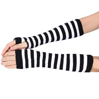 Winter Wrist Arm Hand Warmer Knitted Long Fingerless Gloves Mitten White