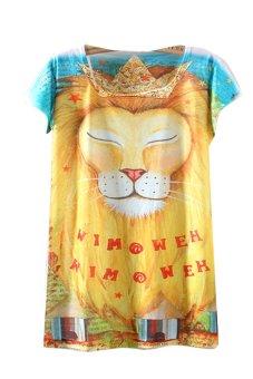 Summer Print Lion Loose Casual T-shirt (Multicolor) - Intl