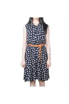 Moonar Floral Prints Bowknot Sleeveless Dress (Black) - intl