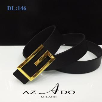 Dây lưng da bò DL:146, thời trang Azado (dây đen mặt vàng)