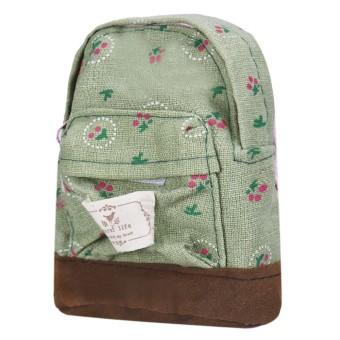 Canvas Mini Floral Backpack Women Girls Kids Cheap Coin Pouch Green - Intl