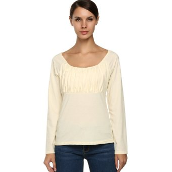 Cyber 2016 ACEVOG Women Casual Long Sleeve Round Neck Ruched Shirt Blouse (Beige) - Intl