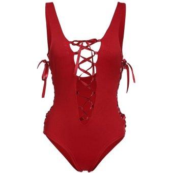 Sunweb Women Sexy One Piece Swimwear Deeep V Neck Tank Backless Hollow Solid Stretch Beach Wear Monokini ( Red ) - intl