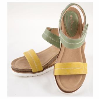 [The bany] Sandal đế xuồng 7,5cm quai vàng chanh phối xanh