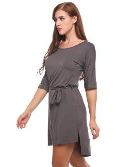 Linemart Women O-Neck Short Sleeve Solid Hem Split Loose Pullover Dress with Belt ( Grey ) - intl