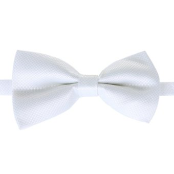 Fashion Men's Tuxedo Bowtie Solid Color Neckwear Adjustable Wedding Party Bow Tie Necktie Pre-Tied White - Intl