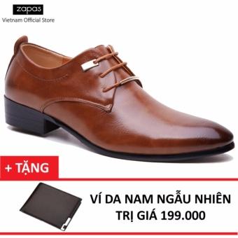 Giày Tây Nam Da Cột Dây Zapas GT007 (Nâu) + Tặng Ví Nam
