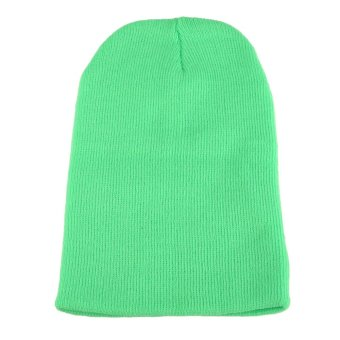 Beanie Knit Ski Cap Men's Women Hip-Hop Unisex Wool Hat Fluorescent Green - intl
