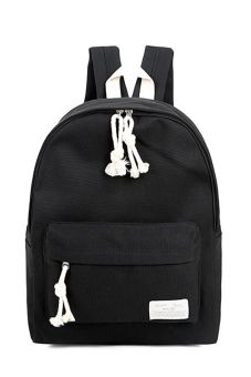 Girls Student Pure Color Multi-purpose Canvas Schoolbag School Outdoor Travel Backpack Tablet Carry Bag Black