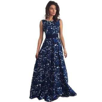 New Plus Size Summer Women Fashion Sleeveless V-Neck Blue Floral Print Maxi Dresses Sexy Beach Long Bind Backless Dress - intl