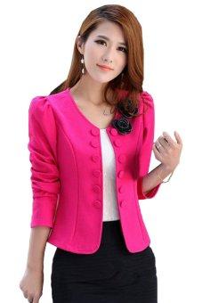 Women's Suit Long Sleeve Short Coat Jacket Outerwear (Pink) - Intl