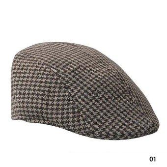 Fancyqube Vintage Grid Pattern Berets Leisure Hat 01 - Intl
