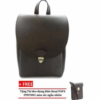 Balo laptop PAPA PPB001 (Màu Nâu) + Túi đeo đựng điện thoại PAPA PPDT001