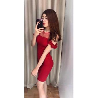 Đầm ngắn nữ - đầm nữ đẹp - đầm công sở nữ - Lưới bẹt vai(đỏ)