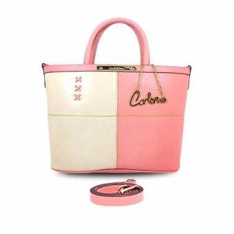 Túi tote nữ 2 phối hai màu Carlo Rino 0302910-003-34 (hồng-kem)