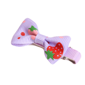Fancyqube Girls Hair Clips Ribbon Bow Kids Strawberry Satin Bowknot Hairpin Purple