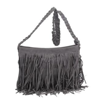 New European Women Fashion Nubuck Leather Braided Shoulder Bag Tassel Cross - intl