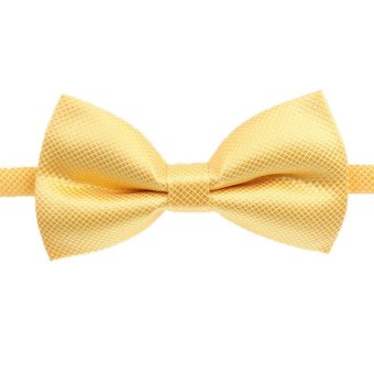 Fashion Men's Tuxedo Bowtie Solid Color Neckwear Adjustable Wedding Party Bow Tie Necktie Pre-Tie Yellow - Intl