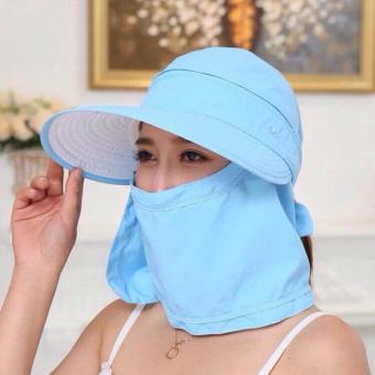 Mũ(nón) tránh nắng kèm khẩu trang 0502-xanh nhạt