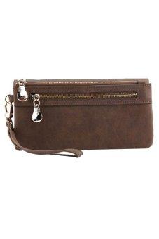 Bluelans Women Wallet Wristlet Card Coin Holder Long Clutch Zipper Purse Coffee (Intl)
