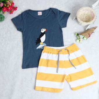 Kid T-Shirt + Striped Beach Pants Set Navy - intl