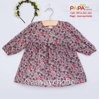 Đầm Hoa Nhỏ Tay Nhún Chun (Xám) Papa Fashion