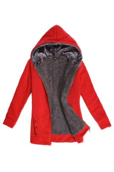 Cyber Casual Ladies' Thicken Warmer Hoodies Coat Outerwear Jacket (Red) - Intl