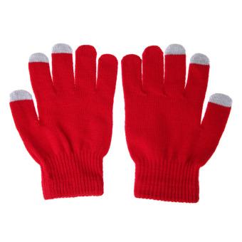 Women/Men Touch Screen Full Finger Gloves for Smartphone Red - INTL