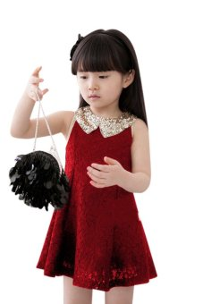 Cyber Sleeveless Sequins Collar Lace Dress (Red) - intl