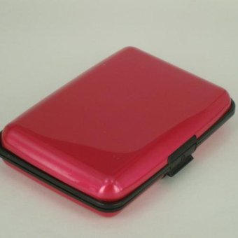 Fashion Business ID Card Holder Wallets Aluminum Metal Credit Cards Storage Box- rose red - intl