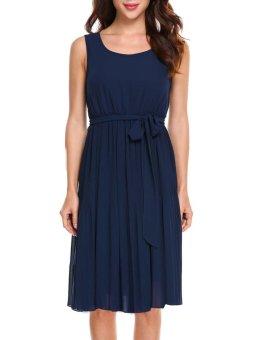 Cyber Women Casual Sleeveless Solid A-Line Pleated Hem Chiffon Dress with Lining ( Dark Blue ) - intl