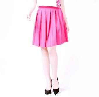 Chân váy xòe xếp ly màu hồng thời trang Bella Moda