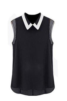 Bluelans Women's Summer Loose Lapel Sleeveless Chiffon Vest Shirt Tops Blouse (Intl)