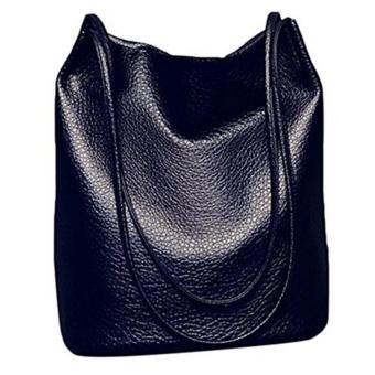 Women Casual Long Handle PU Leather Shopper Shoulder Tote Bucket Bag Handbag for Shopping Holiday Travel Black - intl
