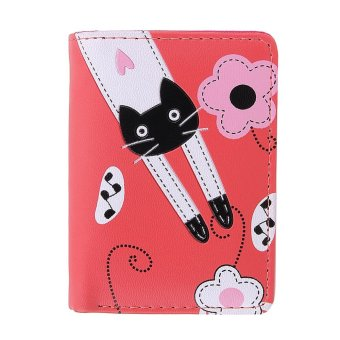 Girls Lovely PU Leather Cute Cartoon Cat Card Phone Holder Wallet (Red) - intl