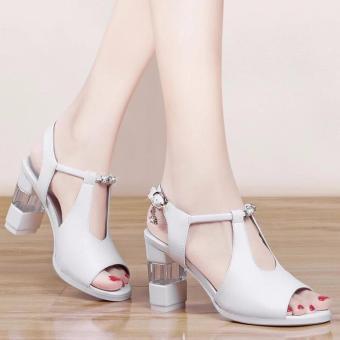 Giày cao gót đính đá phối mê ca trong ( TRẮNG )