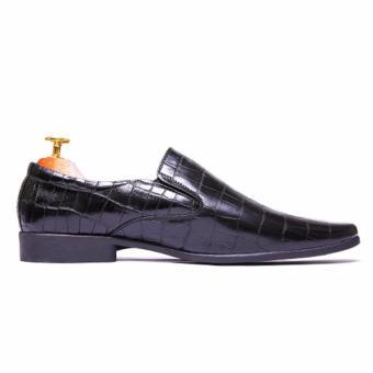 Giày tây nam Da thật Cao Cấp Chính Hãng Da Giày Việt Nam vân cá sấu VNL23AZ6D-2 ( màu đen)