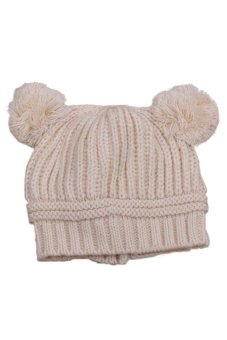 DHS Dual Ball Knit Sweater Hat (Beige) - intl