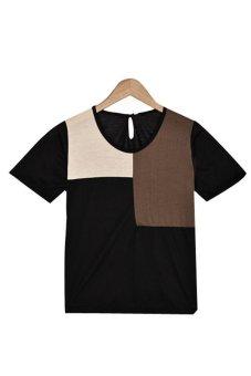 Linemart Women Retro Short Sleeve T-Shirt (Black) - intl
