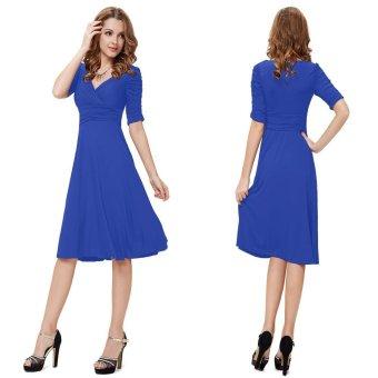 Fashion Women Bodycon Dress Solid Color Deep V Ruched Bottom Pencil Madi Dress - intl