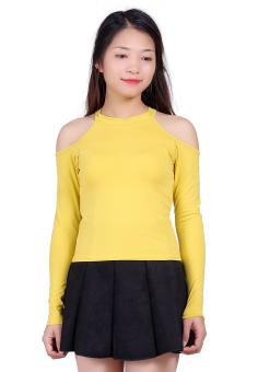 Áo Cotton Dài Tay Hở Vai Màu Vàng SALOME FASHION