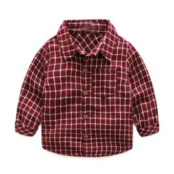 Fashion Baby Boy Wear Plaid Single-breasted Blouse Tops Shirt Kids Clothes - intl